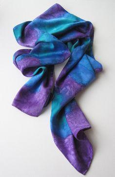 Hand painted Silk Scarf by SeeDreamStudio