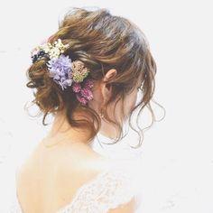 たっぷりの後れ毛…♡ #ウェディング#wedding #ウェディングヘア#ブライダル #bridal #ブライダルヘア #結婚式#結婚式ヘア#結婚式セット#結婚式準備#ヘアアレンジ #ヘアセット #プリザーブドフラワー #アーティフィシャルフラワー #ヘッドドレス#プレ花嫁
