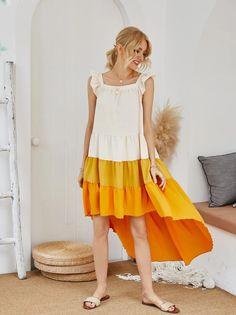 Ruffled Suspender Yellow Cake Pleated Dress S-XL – bohodate Sexy Maxi Dress, Tank Dress, Smock Dress, Ruffle Dress, Plus Size Jumpsuit, Patchwork Dress, Clothing Patterns, Vintage Dresses, Casual Dresses