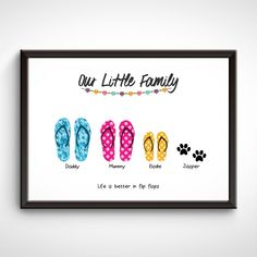 Personalised Family Print, Presents For Mum, Fingerprint Art, Family Wall Art, Crafts To Make And Sell, Watercolor Cards, Wall Art Prints, Art For Kids, Flip Flops