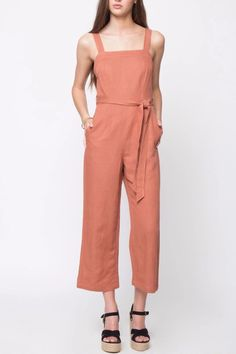 Hey, your body's calling. This fresh linen jumpsuit will have you wanting it in every color. Linen Sleeveless Jumpsuit by Movint. Crop Image, First Day Of Summer, Lounge Wear, Style Me, How To Wear, Clothes, Collection, Dresses, Clean Lines
