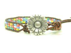 MultiColored Seed Bead Leather Wrap Bracelet, Single Wrap, Boho, Rainbow Colored Wrap