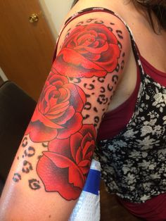 My Half sleeve of red roses and leopard print :)