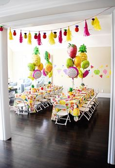 Guest table from a Colorful Tutti Frutti Birthday Party on Kara's Party Ideas | KarasPartyIdeas.com (30)