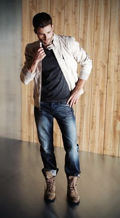 Cool, masculine look--canvas jacket, sweater, jeans, and a pair of boots. #mensfashion