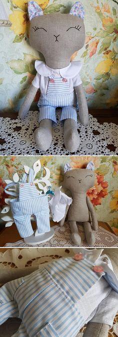 $48.00 Handmade Cat doll. Stuffed cat toy. Fabric cat doll. Cloth kitten linen doll. Textile toy cat rag doll. Girl gift.