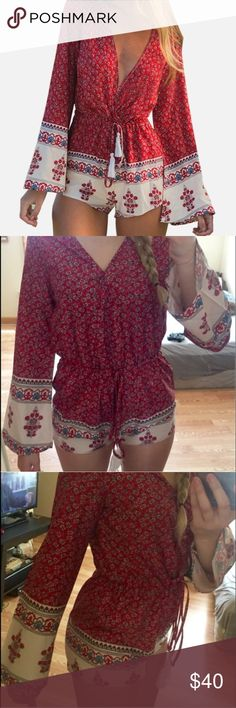 Trendy Red Romper 🌹 New and never worn. Just tried on. Polyester material. Cute and perfect for summer. Labeled as a medium, but fits more on the small side. Not listed brand. Used for exposure. Missguided Pants Jumpsuits & Rompers