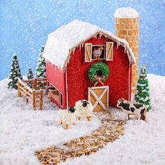 "We came up with the ""plans"" for this Christmas gingerbread barn…then ""stocked"" it with farmyard friends. The country-as-can-be project will add a cheerful rustic touch to your holiday decor—and it's so easy to assemble, you can start raising the roof right away! —Taste of Home Test Kitchen"