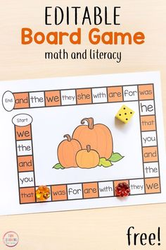 A fun pumpkin editable board game that is perfect for fall literacy centers! Use it to work on sight words, spelling words, letters and more! - Education and lifestyle Kindergarten Centers, Kindergarten Activities, Literacy Centers, Listening Activities, Spelling Activities, Alphabet Activities, Fall Preschool, Preschool Math, Kindergarten Thanksgiving