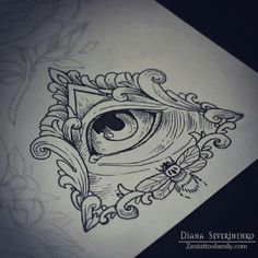 Nice Grey Ink Triangle Eye Tattoo Design
