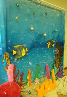 Under Water Backdrop on PVC pipe frame with bed sheets and cut outs.