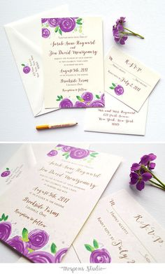 The Plum Rose Blooms Wedding Invitation design features original watercolor rose artwork on thick buttercream cards, and modern fonts in beautiful aged gold flat matte ink. Now available in navy blue, pink, berry, and peach! - www.mospensstudio.com