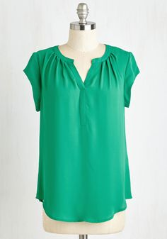 Most Lightly to Succeed Top in Green. Float through your day in this kelly green top for a look thats at the peak of posh! #green #modcloth