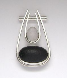 Sterling White and Rare Black Sea Glass Pendant by SignetureLine