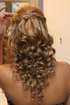 Half up with a braid and curls look amazing