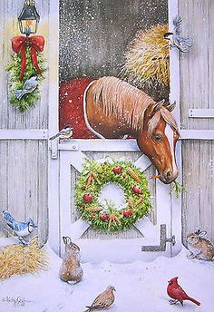 Kathy Goff Horse Stable Bunny Cardinal Bird Blue Jay Dove Wreath Christmas Card