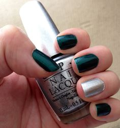 New mani opi: ds radiance @Emily Anton Products, Inc. #silver #nail #polish #metalic #manicure #green #emerald #chrome