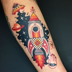 Winston the Whale - retro space rocket ship tattoo @winstonthewhale