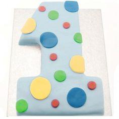 Blue 1st Birthday Age 1 Shaped Cake