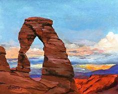 Delicate Arch 6 by Carolyn Tibbetts by Gallery Moab Acrylic ~ x Watercolor Landscape, Landscape Art, Landscape Paintings, Painting & Drawing, Watercolor Paintings, Watercolor Ideas, Watercolors, Oil Pastel Drawings, Pencil Art Drawings