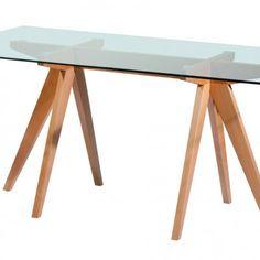 Mesa nórdica vidrio y madera