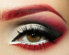 Red White and Black eyeshadow eye makeup