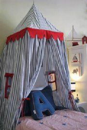 Kids Castle / Play Tent - Navy with Red Trim Kids Castle, Castle Bed, Kids Church Rooms, Hanging Tent, Childrens Beds, Dream Furniture, Kids Decor, Home Decor, Diy Bed