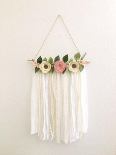 Shabby Chic Wall Hanging // Felt Flower Wall Hanging // Boho