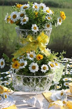 Pretty daisy centerpiece for a country wedding table Dp Daisy Wedding, Yellow Wedding, Wedding Flowers, Wedding Table, Rustic Wedding, Daisy Centerpieces, Centerpiece Wedding, Wedding Motifs, Decoration Table