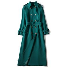 Dark Green Belted Double Breasted Trench Coat ($102) ❤ liked on Polyvore featuring outerwear, coats, dark green trench coat, belted coats, double-breasted trench coats, blue coat and blue trench coats