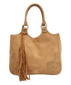 T-Shirt & Jeans Handbags Tan Laser-Cut Tassel-Accent Tote by T-Shirt & Jeans Handbags #zulily #zulilyfinds