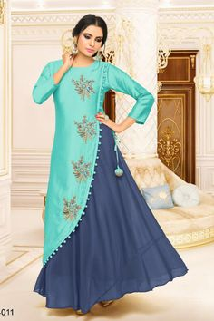 This Beautiful Attire Has Everything The Incredible Colours, Prints and Hues The Spectacular Vividity of Its Prints and Styling the Ethnic Touch a Class Fabric to Match Buy This Trendy Kurtis Online on Rana Fashionas. Kurti Designs Party Wear, Kurta Designs, Blouse Designs, Latest Kurti Designs, Indian Designer Outfits, Designer Dresses, Dress Neck Designs, Indian Gowns, Western Dresses