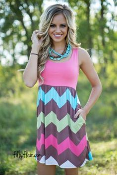 Night Train Chevron Mini Dress in Coral
