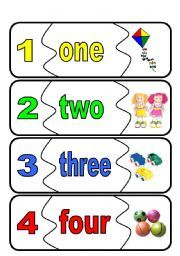 English worksheet: number flashcards