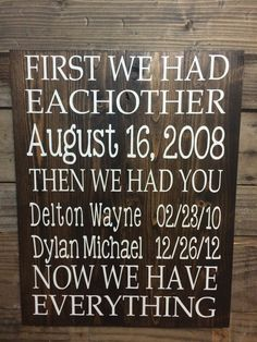 First We Had Each Other Sign, Primitive Home Decor, Now We Have Everything Custom Wooden Sign, Important Date Sign, Personalized Family Sign