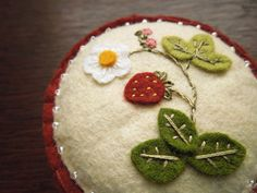 Wild Strawberry Botanical Embroidered Wool Felt by SeaPinks