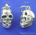Sterling Silver .925 HUMAN SKULL 3D Halloween Charm