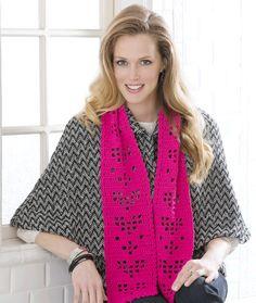 Free Crochet Pattern - Shimmery Hearts Scarf