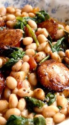 White Beans with Spinach and Sausage - easy weeknight dinner recipe sausage and veggies;recipes with sausage dinner;spaghetti with sausage;orrechiette with sausage; Pork Recipes, Cooking Recipes, Healthy Recipes, Chicken Sausage Recipes, Kilbasa Sausage Recipes, Smoked Sausage Recipes, Veggie Sausage, Recipes With Pork And Beans, Recipies