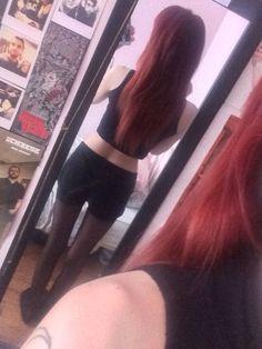 Skinny, long hair