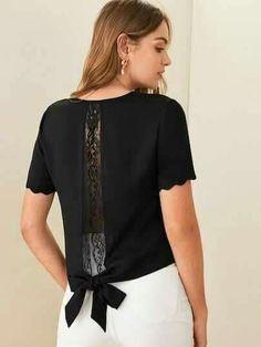 Shein Tie Back Lace Trim Scalloped Top Diy Fashion, Fashion Dresses, Fashion Design, Shirt Bluse, Clothing Hacks, Sewing Clothes, Refashion, Dressmaking, Types Of Sleeves