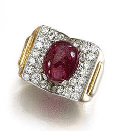 GOLD, RUBY AND DIAMOND RING, 1940S centring on an oval cabochon ruby set with circular- and single-cut diamonds