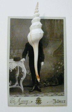 """Iris Legendre (française, 1988), """"Photographs I"""", épingles, aiguilles, poivre, plume, coquillage, perles sur photographies Iris, Assemblages, Undercover, Portrait, Collages, Mixed Media, Artists, Projects, Painting"""