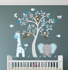 Enchanted Interiors Jungle Wall Sticker Decals Premium Self Adhesive Fabric Nursery Wall Art Approx Size: 47 high x 43 wide Captivate your babys imagination with our friendly jungle animals nursery wall art scene featuring a friendly giraffe, elephant, and of course lots of