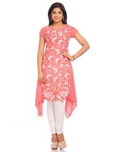 Shop Red Poly Georgette Asymmetric Kurta online at Biba.in - TRIBALR11424RED