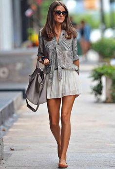 Flats And Mini Skirt 2017 Street Style