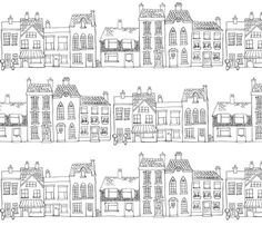 Down Our Street - Drawing fabric by woodle_doo on Spoonflower - custom fabric $18 yd: