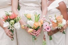 I think I have chosen my colors: So, dresses in sage, and then floral arrangements in light: pink, peach, yellow, and possible a neutral tan or beige