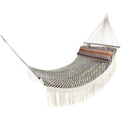 MacKenzie-Childs Courtly Check Hammock (485 CAD) ❤ liked on Polyvore featuring home, outdoors, patio furniture, hammocks & swings, furniture, decor, fillers and outdoor hammock
