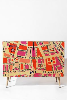 Holli zollinger paris map pink credenza deny designs home accessories mobil Hand Painted Furniture, Upcycled Furniture, Furniture Decor, Furniture Design, Plywood Furniture, Chair Design, Modern Furniture, Paris Map, Pink Design